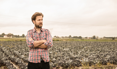 Forty years old caucasian farmer in plaid shirt standing proud in front of cabbage field. Agriculture - country outdoor scenery.