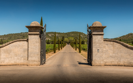 Property entrance gate, driveway, vineyards, cypresses and hills. Summer South Europe countryside landscape. Stock Photo