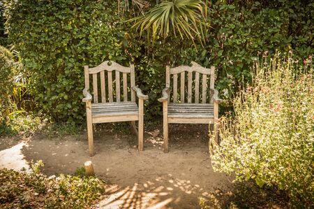 Amazing Summer Peaceful Vintage Garden Nook With Two Vintage Wooden Chairs. Outdoor  Relaxation Scenery   Countryside
