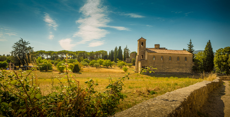 Temple in Lourmarin, Provence (France) - historic architecture. South Europe - summer landscape.