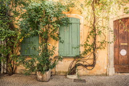 Front of the old yellow building (facade), green historic wooden window shutters and climbing plants - landscape. Architecture details and gardening - south Europe (France).