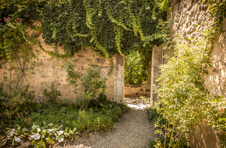 Archway (gate), historic stone wall and climbing plants in the mysterious garden nook - landscape. Architecture details and gardening - south Europe (France).