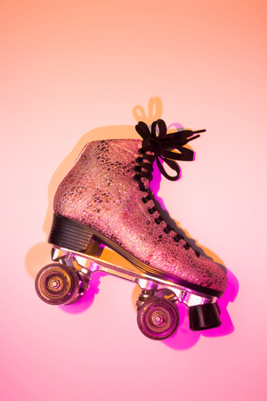 Retro pink glittery roller skate - poster layout design. Colorful (multicolor tonal transitions) background with free text (copy) space.