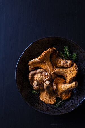Raw chanterelle mushrooms in a ceramic bowl on black background. Dark moody composition captured from above (top view). Free copy (text) space. 版權商用圖片
