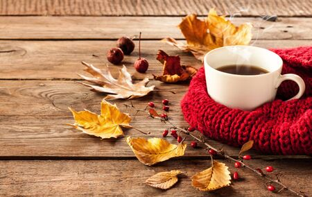 Hot coffee and autumn leaves on vintage wood background - seasonal relax concept Stock Photo