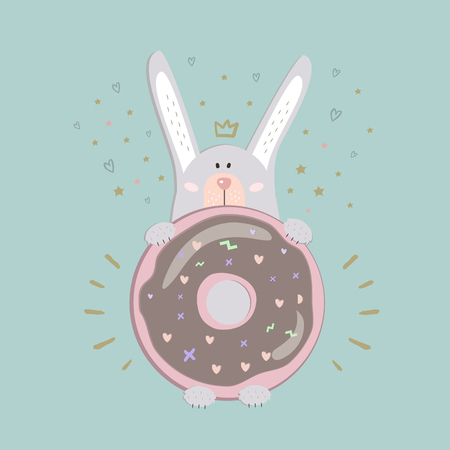 Postcard design with cute gray rabbit and donut