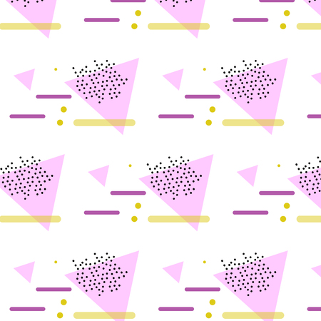 Geometric pattern with pink, yellow and purple. Form a triangle, a line, a circle