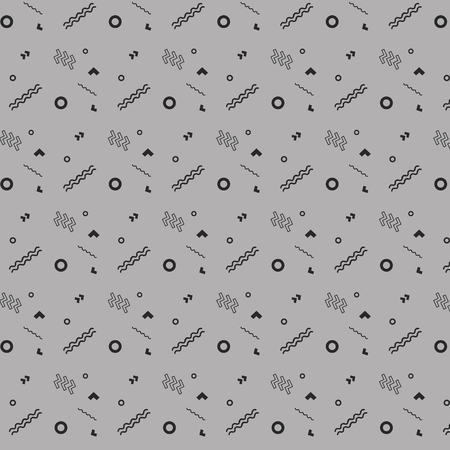 Hipster fashion geometric pattern with zigzag on gray background