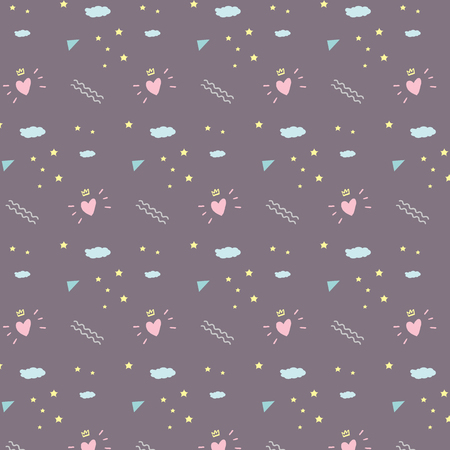 Hipster pattern for valentines day on purple background with yellow star and blue triangle