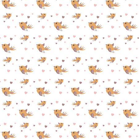 Pattern children fashion ornament with orange bird and pink heart