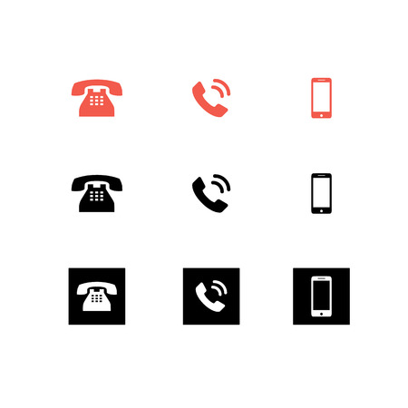 Vector black and red icon Phone for web UI UX