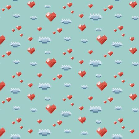 Pattern ornamental pixel art with orange heart and blue cloud on blue background Illustration