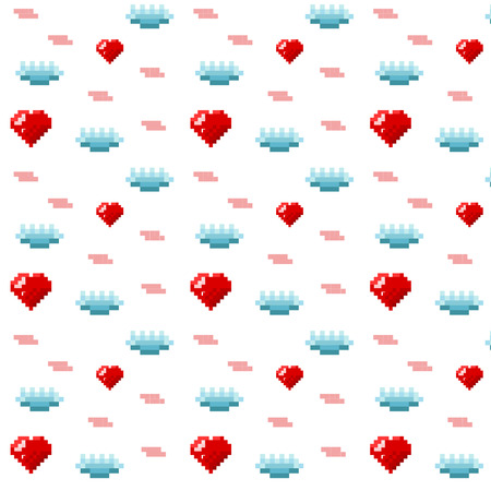 Pattern ornamental pixel art with red heart and blue cloud on white background