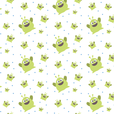 Pattern ornament with funny cute green monster on white background