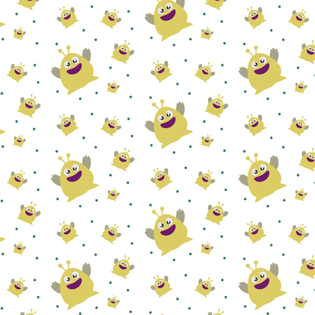 Pattern ornament with funny cute yellow monster on white background