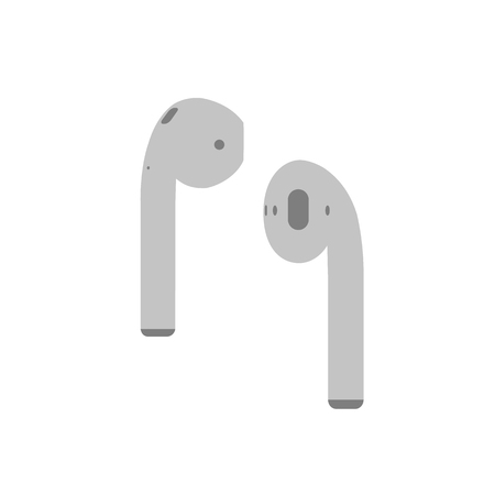 light gray Airpods music wireless headphones flat icon for apps and websites on white background