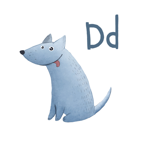 children picture with ABC font funny blue smile dog on white background