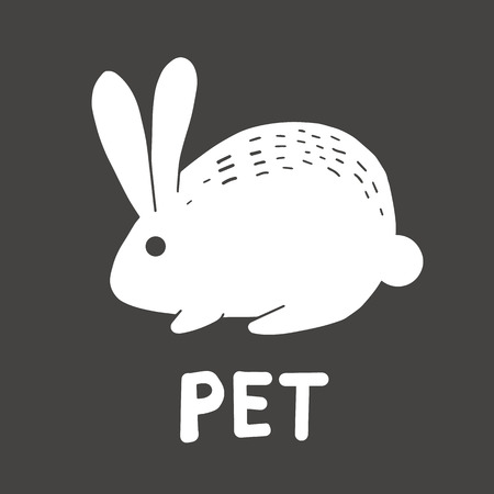 icon of a white hare rabbit pet cute icon of a pet shop on a dark gray background