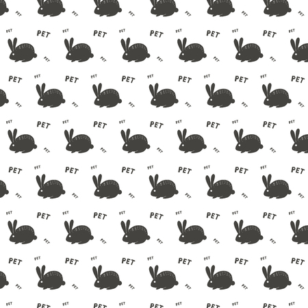 pattern of ornamental pattern with white rabbit hare and white letters and white heart font bunny protection animal on dark gray