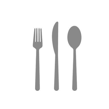 Fork spoon knife cafe eating cutlery restaurant eating dinner gray on white background  イラスト・ベクター素材