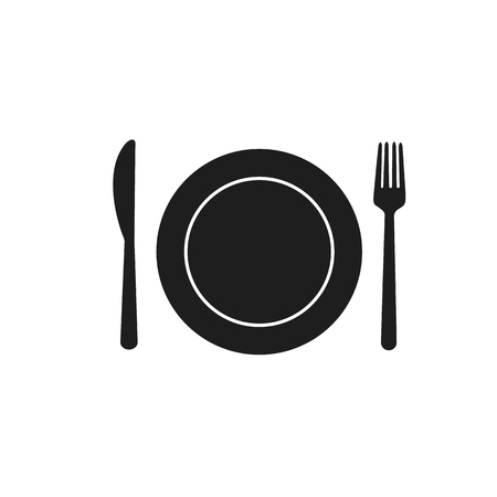 Fork spoon knife plate cafe eating cutlery restaurant eat black dining room on white background
