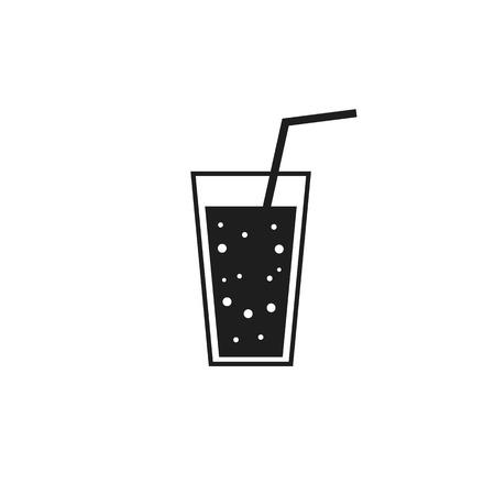 Glass of juice restaurant cocktail cafe lemonade drink drink black icon sign on white background