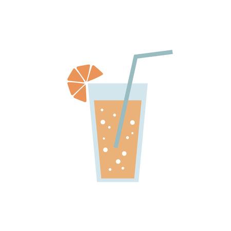 Blue glass of orange juice restaurant cocktail cafe lemonade with lemon drink drink black icon sign on white background