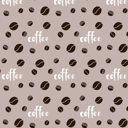 Pattern brown coffee bean inscription