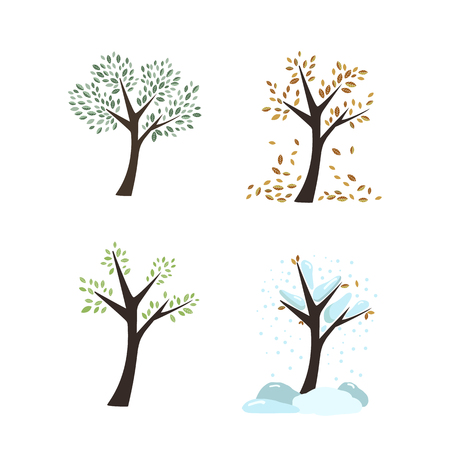 Icons forest color trees on white background