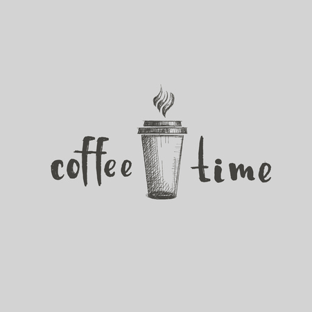 Restaurant cappuccino latte line word drinking Stock Illustratie