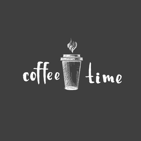 Coffee time word Drawing on black background