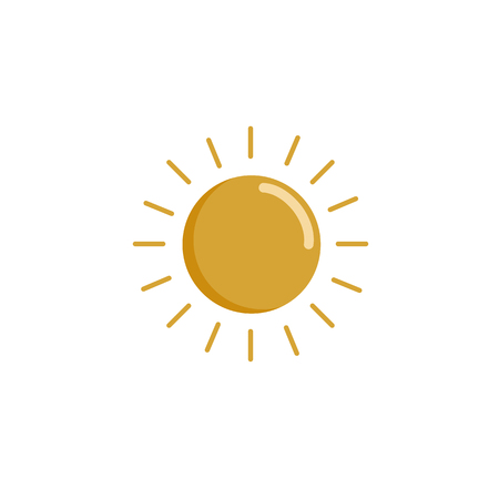 Simple drawing of the sun. The icon of the sun. Flat design is summer. Symbol of summer. Yellow Icon pictogram of a sun on a white background