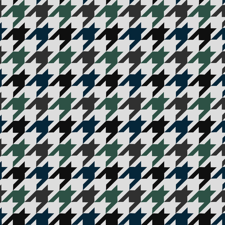 Hounds tooth  pattern ornament. Geometric print in green and blue color on white background. Classical English background Glen plaid for fashion design