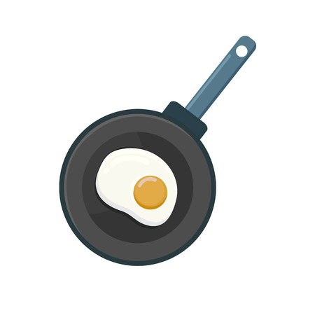 Egg are fried in a frying pan. Fast and nutritious breakfast. Omelette is delicious