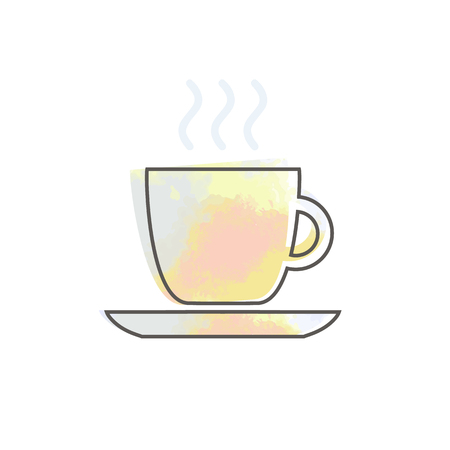 Watercolor cup with coffee cafe restaurant food drinks tea black contour on white background