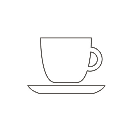 Black cup icon outline with coffee cafe restaurant food drinks tea black contour on white background
