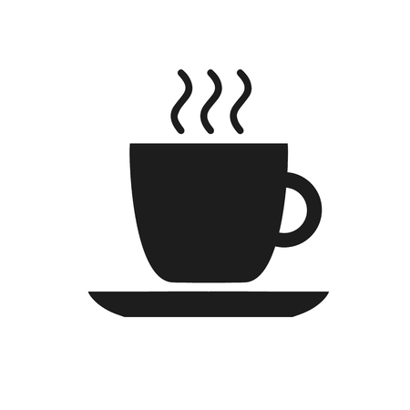 Black cup icon with coffee cafe restaurant food drinks tea black contour on white background