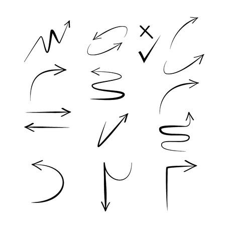 Doodle hand drawn arrows. Set black arrows on white background