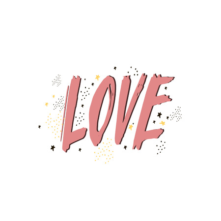 Love lettering. hand drawn doodle text. Calligraphy postcard