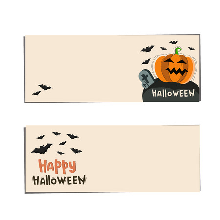 Banners  Halloween with pumpkins and bat. Illustration with lettering happy halloween and black bat.