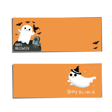 Banners   Halloween. Halloween banners with ghost on black background. Иллюстрация