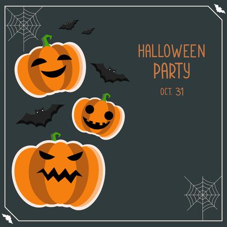 Halloween greeting card. Halloween party flyer. Halloween banner with pumpkin and bats.Halloween background for design