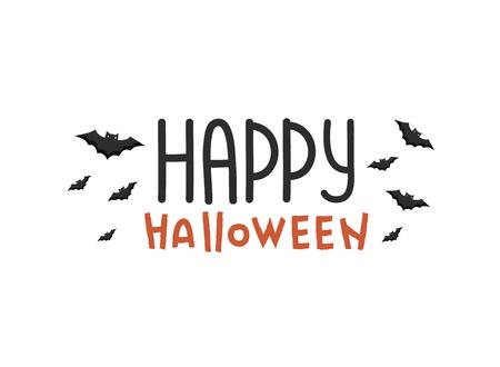 Halloween lettering. Happy Halloween Text Banner with black bat. font design. Иллюстрация