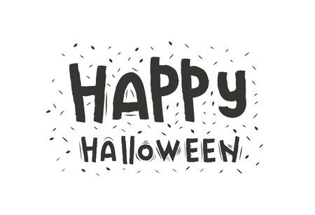 Halloween lettering  . Happy Halloween Text Banner. font design. Doodle design  . texture.Halloween font Иллюстрация