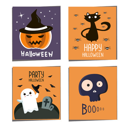Halloween postcard set  . Halloween party flyer. Halloween banners with pumpkin, cat, skull bats. 矢量图像