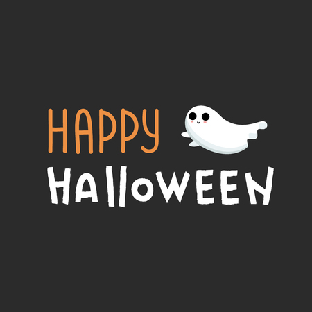 Happy Halloween lettering  . Happy Halloween Text Banner with white ghost. font design. Doodle design   texture. Halloween font