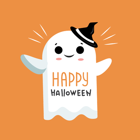 Happy Halloween  illustration with lettering and ghost. Happy Halloween postcard with white ghost.