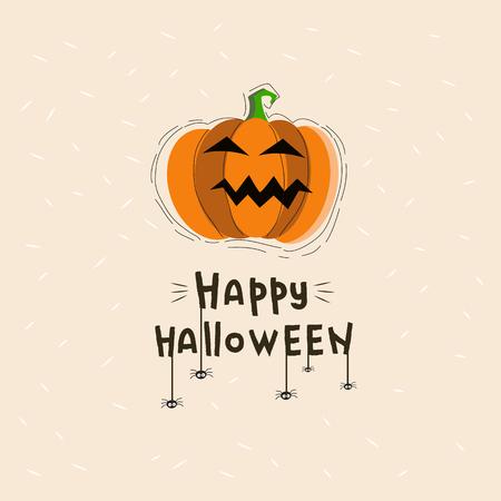 Happy Halloween illustration with lettering and pumpkin. Happy Halloween postcard with orange pumpkin.