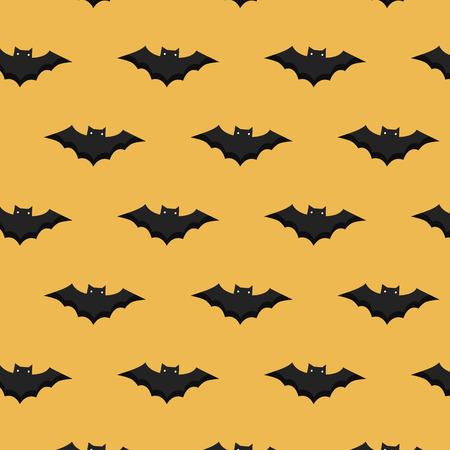 Pattern halloween ornament. Halloween design. Halloween pattern with bats on a yellow background