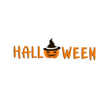 Halloween Text Banner with pumpkin. Happy Halloween red lettering.